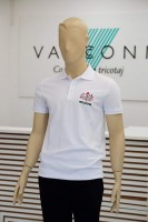 Tricou polo cu broderie: MOLDOVA, discover the routes of life (alb)